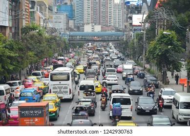 Bangkok, Thailand- November 13, 2018: Cars on the city street. Traffic jam in the rush hour