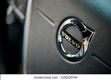 BANGKOK, THAILAND - November 14, 2018: The Volvo interior detail of steering wheel, airbag, and horn. The Swedish company manufactures and markets sport utility vehicles, station wagons, and sedans.