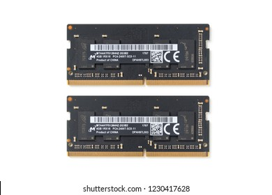 BANGKOK, THAILAND - NOVEMBER 14, 2018: The 4GB DDR4-2400 SO-DIMM 260-pin from Micron Technology, memory module for laptop isolated over white background.