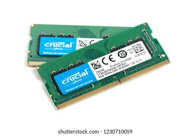 BANGKOK, THAILAND - NOVEMBER 14, 2018: The Crucial 8GB DDR4-2400 SO-DIMM 260-pin memory module for laptop isolated over white background.