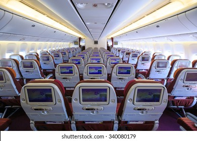 Bangkok Thailand   November 15, 2015 Boeing 777 Dreamliner Economy Class  With TV Touch Screen