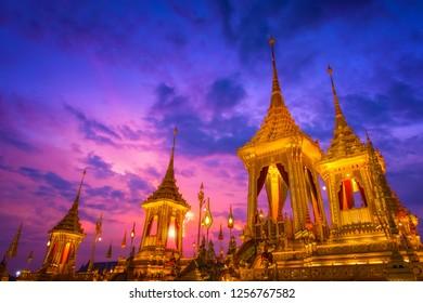 BANGKOK, THAILAND - NOVEMBER 15 2017: The royal crematorium of His Majesty late King Bhumibol Adulyadej built for the royal funeral at Sanam Luang