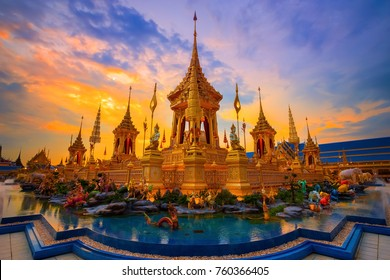 BANGKOK, THAILAND - NOVEMBER 15 2017: The royal crematorium of His Majesty late King Bhumibol Adulyadej built for the royal funeral at Sanam Luang