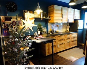 Bangkok, Thailand. November 15, 2018 - kitchen room interior for christmas season at IKEA store in thailand. IKEA is the world's largest furniture retailer. christmas holiday concept.