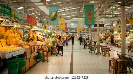 BANGKOK, THAILAND - NOVEMBER 15, 2018: Or Tor Kor Market interior view. Or Tor Kor Market is a well known place for fresh food, fruits and vegetables.