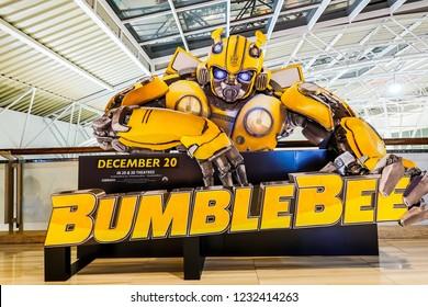 Bangkok, Thailand - November 16, 2018: A beautiful standee of a movie called Bumblebee display showing at cinema
