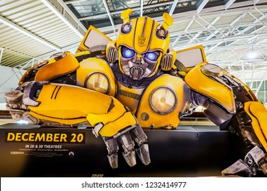 Bangkok, Thailand - November 16, 2018: A beautiful standee of a movie called Bumblebee display showing at cinema