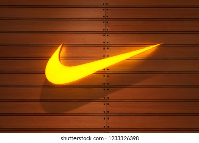 Bangkok, Thailand - November 16, 2018 : Nike store logo located in ICONSIAM shopping malls-Thailand. Nike is a global sports clothes and running shoes retailer.