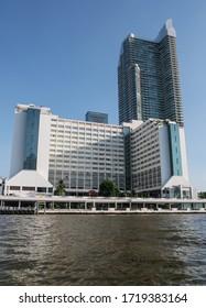 BANGKOK, THAILAND - NOVEMBER 16, 2019: Menam Residences condominium complex and Ramada Plaza by Wyndham Bangkok Menam Riverside.