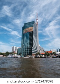 BANGKOK, THAILAND - NOVEMBER 16, 2019: CAT Telecom Tower Building. Corporate office skyscraper in Bangkok, Thailand, seen from the Chao Phraya River.