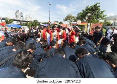 Bangkok, Thailand - November 17, 2016 : Students of King Mongkut's University celebrate Graduate at Bitec Bangna with sunny day.