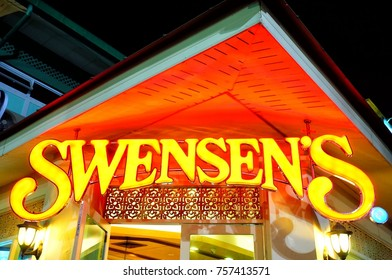 BANGKOK, THAILAND - NOVEMBER 17, 2017: Swensen's Sign in front of  Ice cream restaurant. It was started in 1948 by Earle Swensen.