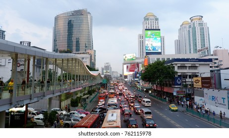 BANGKOK, THAILAND - November 17, 2017 : The street infront of shopping mall at the downtown of Bangkok Ratchaprasong intersection on New Year festival