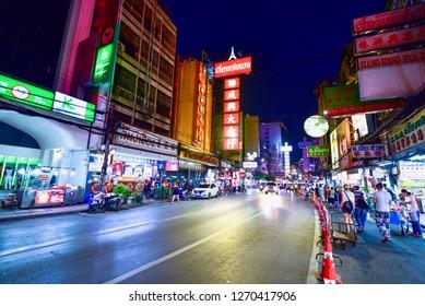 Bangkok, Thailand - November 17, 2018: View of Neon Signs and Yaowarat Road or Bangkok's Chinatown at Night