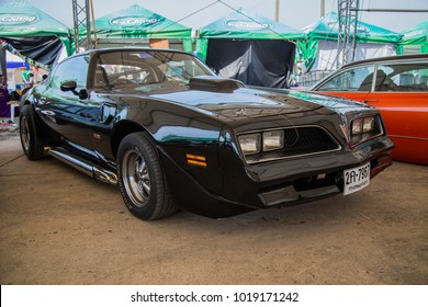 BANGKOK, THAILAND - NOVEMBER 18, 2017: The 1977 Pontiac Firebird parking at the car park.