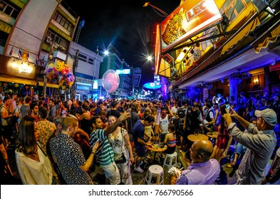 Bangkok, Thailand - November 18, 2017 : Tourists enjoying Khao San Road, Khao San road is a famous place for sight-seeing and eating at night in Bangkok.