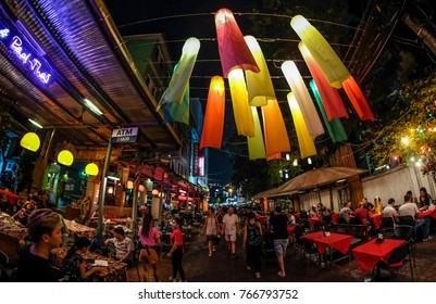 BANGKOK, THAILAND - NOVEMBER 18, 2017 : A restaurant and Cafe at popular backpacker destination Khao San. The area is famous for its street market in Thailand.
