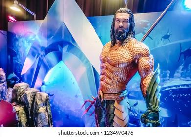 Bangkok, Thailand – November 18, 2018: Human Size Statue of A DC Comic Superhero Arthur Curry or Aquaman at The Standee of Movie Aquaman Displays at the cinema
