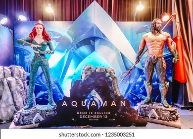 Bangkok, Thailand – November 18, 2018: Human Size Statue of A DC Comic Superhero Arthur Curry or Aquaman and Mera at The Standee of Movie Aquaman Displays for the public by collector and fan.