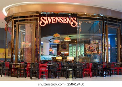 BANGKOK, THAILAND - NOVEMBER 19, 2013 : Exterior view of a Swensen's Restaurant at the Siam Paragon Mall. It is a global chain of ice cream restaurants that started in San Francisco, California.