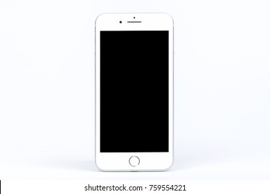 Bangkok, Thailand - November 19, 2017:Brand new generation of Apple iPhone  8 plus with box isolate on white background. iPhone is most popular of smartphone in the world.