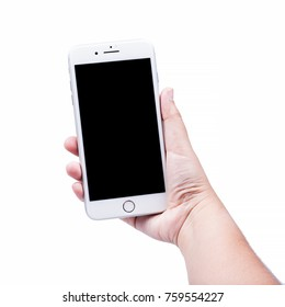 Bangkok, Thailand - November 19, 2017:Brand new generation of Apple iPhone  8 plus with box isolate on woman hand holding with white background. iPhone is most popular of smartphone in the world.