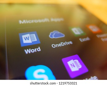 Bangkok, Thailand. November 2, 2018 - microsoft applications on smartphone screen close up. microsoft word, OneDrive, excel, skype, OneNote apps.