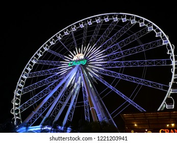 Bangkok Thailand - November 2, 2018 : Ferris wheel at Asiatique The Riverfront in Bangkok, Thailand. (Selective focus)