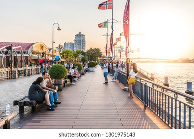 BANGKOK, THAILAND - NOVEMBER 2, 2018: Promenade  of Asiatique The Riverfront in Bangkok, Thailand.