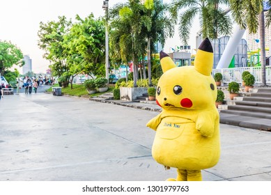 BANGKOK, THAILAND - NOVEMBER 2, 2018: Pikachu of Pokemon at  Asiatique The Riverfront in Bangkok, Thailand.
