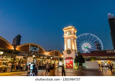 BANGKOK, THAILAND - NOVEMBER 2, 2018: Night view  of Asiatique The Riverfront in Bangkok, Thailand.