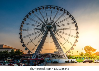 BANGKOK, THAILAND - NOVEMBER 2, 2018: Ferris wheel at Asiatique The Riverfront in Bangkok, Thailand.