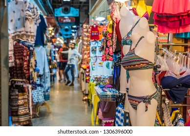 BANGKOK, THAILAND - NOVEMBER 2, 2018: Shopping street of Asiatique The Riverfront in Bangkok, Thailand.