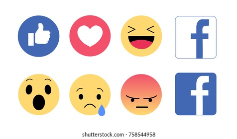 Bangkok, Thailand - November 20, 2017 : Facebook like button Emoji Reactions printed on white paper. Popular social networking.