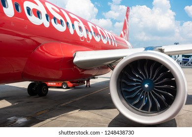 Bangkok, Thailand - November 20: AIR ASIA Airline low-cost flight from Donmuang International Airport to Chiangmai parking and prepare for takeoff on Nov 20, 2018 at Donmuang International Airport.