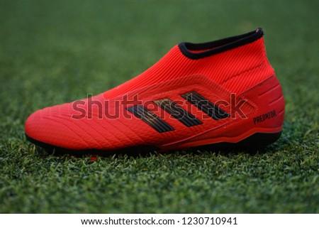 38165e0e73f Bangkok   Thailand - November 2018   Adidas launch the new Predator football  boot in red colour. This model is