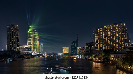BANGKOK, THAILAND - NOVEMBER 2018 : IconSiam river side department store presenting the light show at the grand opening day on November 9, 2018 in bangkok, Thailand