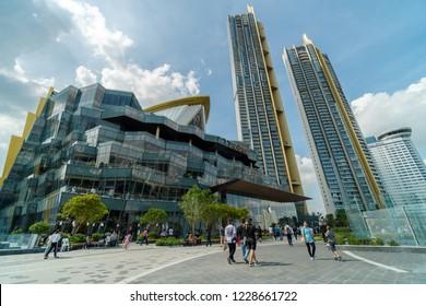 BANGKOK, THAILAND - NOVEMBER 2018 : IconSiam department store and Magnolias Waterfront Residences on November 11, 2018 at bangkok, Thailand. Iconsiam already open November 9, 2018
