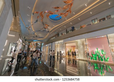 """Bangkok, Thailand -November, 2018 :""""LUXURY BRAND NAME SHOP at ICONSIAM"""".The Iconsiam is department store high-end shopping malls on Chao Phraya River in Bangkok.ICONSIAM already open November 9, 2018."""