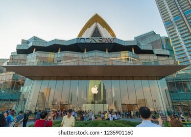 """Bangkok, Thailand - November, 2018 : """"New Apple store at ICONSIAM"""". The Iconsiam is department store high-end shopping malls on Chao Phraya River in Bangkok. ICONSIAM already open November 9, 2018."""