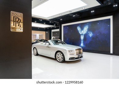 BANGKOK, THAILAND - NOVEMBER 2018 : Rolls-Royce Flagship Showroom in IconSiam department store on November 14, 2018 at bangkok, Thailand. Iconsiam already open November 9, 2018