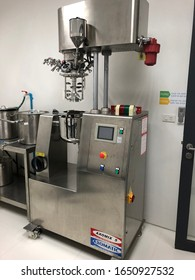 Bangkok, Thailand - November 2019 : Homogenizer device for pilot plant scale, with small batch size. Used mainly for the manufacture of emulsion type cosmetics