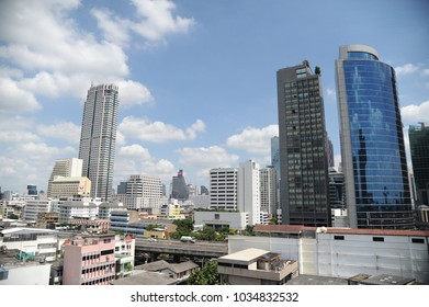 bangkok, thailand - november 20th, 2017: panoramic view of the skyline full of skycrapers of bangkok