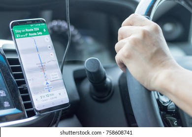 Bangkok, Thailand - NOVEMBER 20TH 2017: Google map application on Samsung Galaxy S8 mobile phone to used on lead the way while driving in Thailand