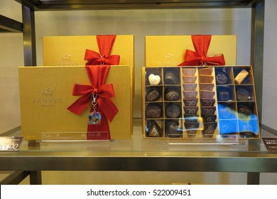 BANGKOK, THAILAND - NOVEMBER 21, 2016 : Godiva open first shop in Thailand at Central World, Bangkok, Thailand. Godiva is a brand of premium chocolate founded in Belgium.