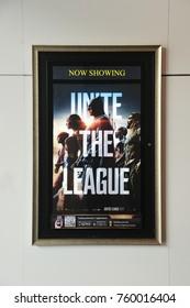 Bangkok, Thailand - November 21, 2017: Poster of Justice League displays at the theater