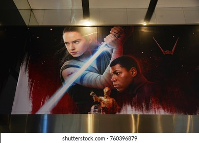 Bangkok, Thailand - November 21, 2017: Poster of Star Wars: Episode VIII â?? The Last Jedi displays at the theater