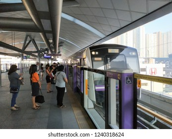 Bangkok, Thailand - November 21, 2018: People passenger at MRT Purple Line Bang Yai-Tao Poon station. Many people in Bangkok use skytrain to save time. lifestyle of people in Bangkok, Thailand.