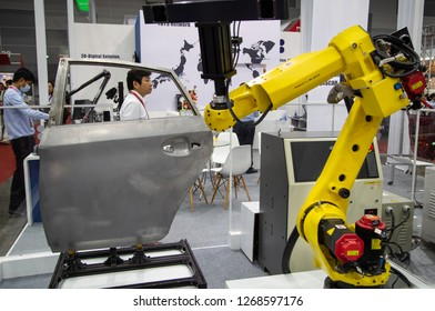 Bangkok, Thailand - November 21, 2018: Quality Assurance in the Automotive Industry - ABIS Automated automatic car body inspection system display in Metalex 2018
