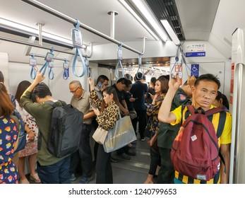 Bangkok, Thailand - November 22, 2018: People passenger at MRT Purple Line Bang Yai-Tao Poon station. Many people in Bangkok use skytrain to save time. lifestyle of people in Bangkok, Thailand.